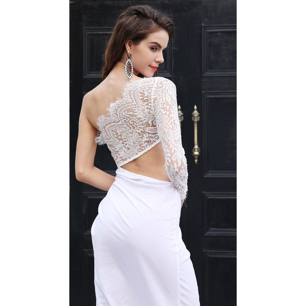 White One Shoulder Evening Dress