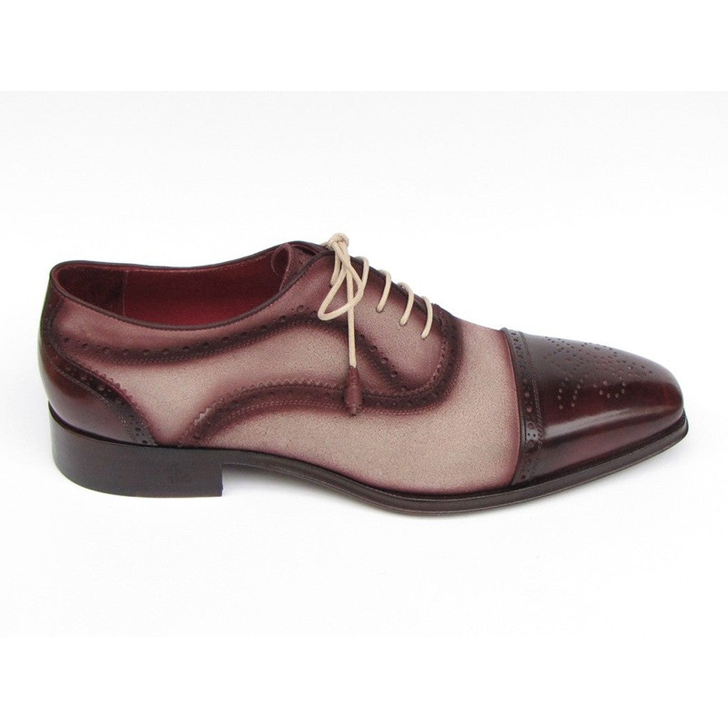 Paul Parkman Men's Captoe Oxfords - Bordeaux / Beige  Suede Upper and Leather Sole (ID#024-BRR)