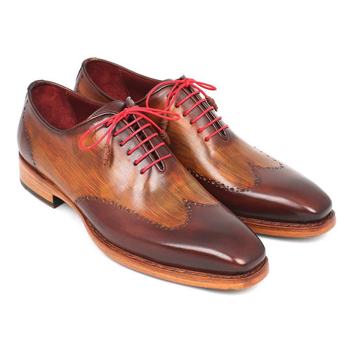 Paul Parkman Men's Wingtip Oxford Goodyear Welted Brown & Camel (ID#81BRW74)