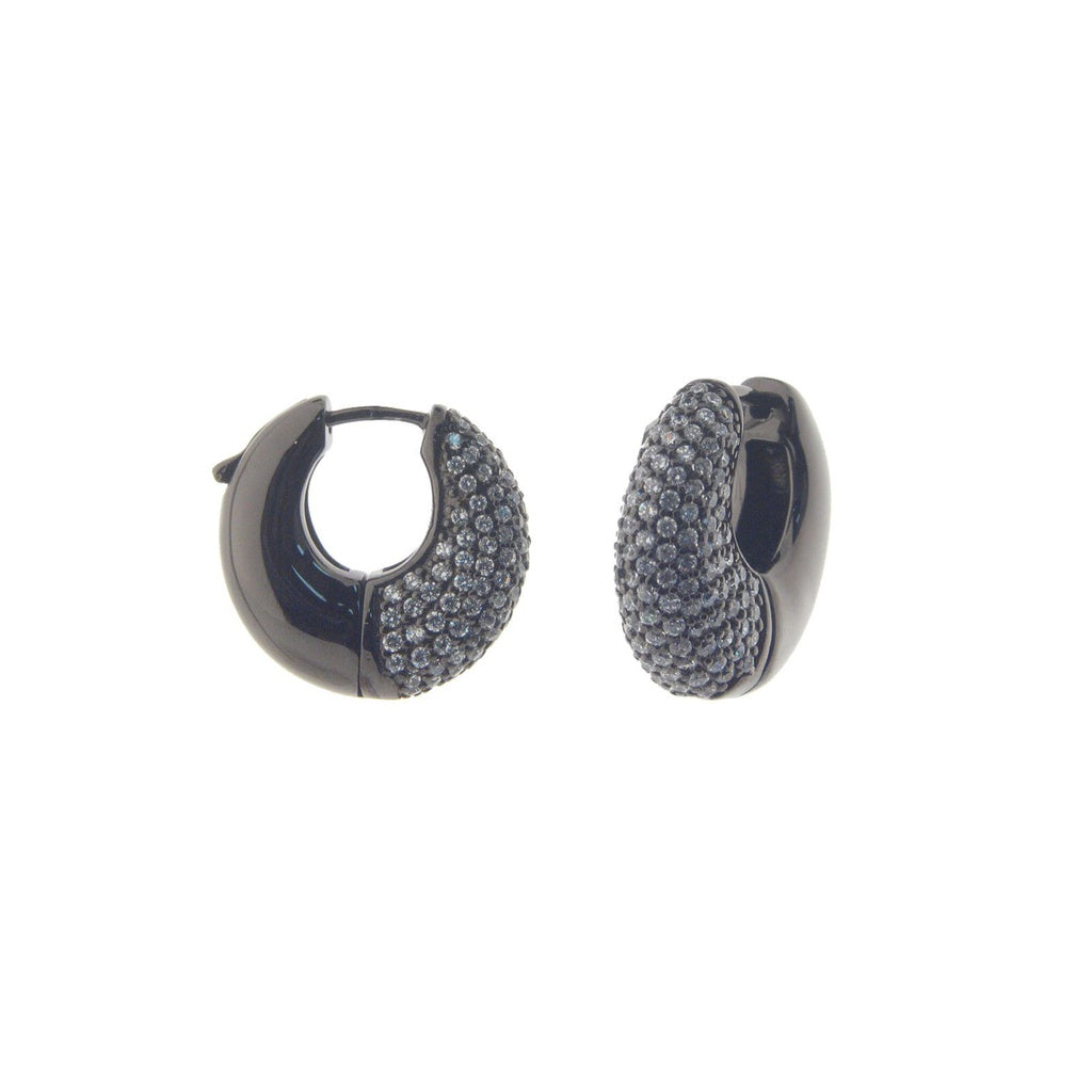 Gunmetal Pave Oval Hoop Earrings