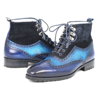 Paul Parkman Men's Wingtip Boots Blue Suede & Leather (ID#971-BLU)