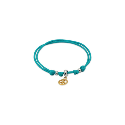 BecKids Turquoise Cord Bracelet Gold Peace Sign Charm   Sterling Silver, Adjustable