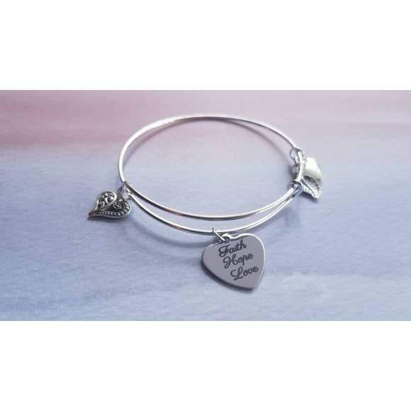 Faith Hope Love Charm Bangle Bracelet