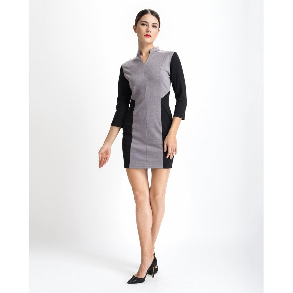 Grey Color Block Work Dress