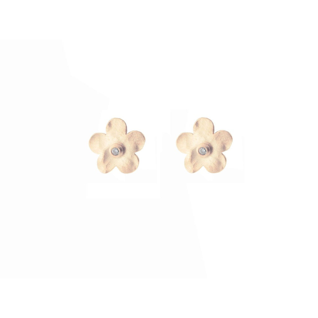 Rose Gold Plated Hammered Flower Studs in Sterling Silver, 10mm