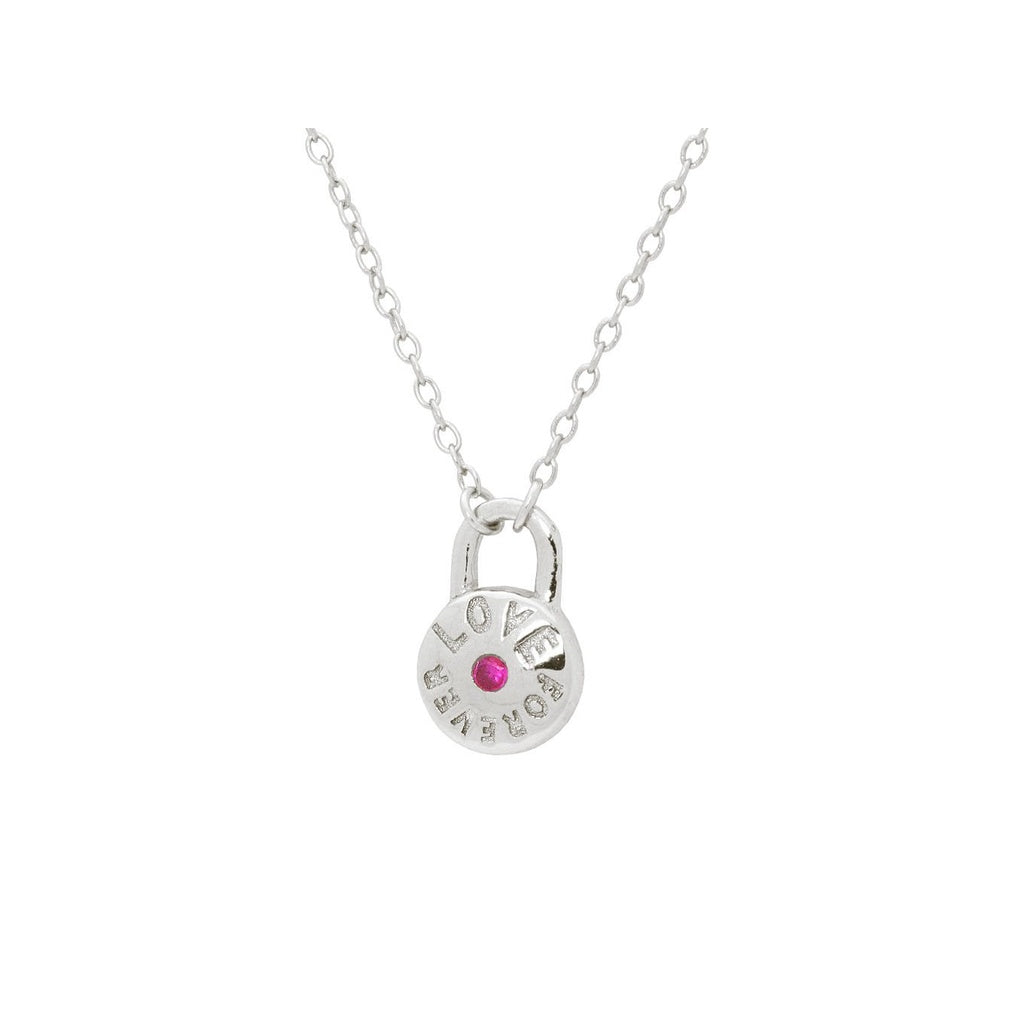 "Red Cz Love Forever Lock Pendant Necklace in Rhodium Plated SIlver 16""+ 2"""