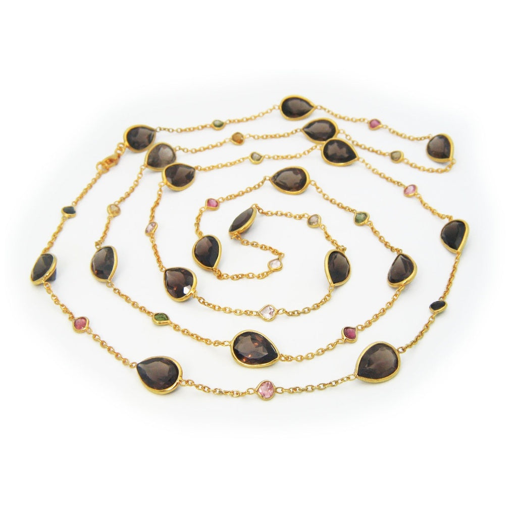 Gemstone Station Necklace, 42""