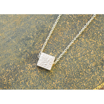 White gold hammered square necklace