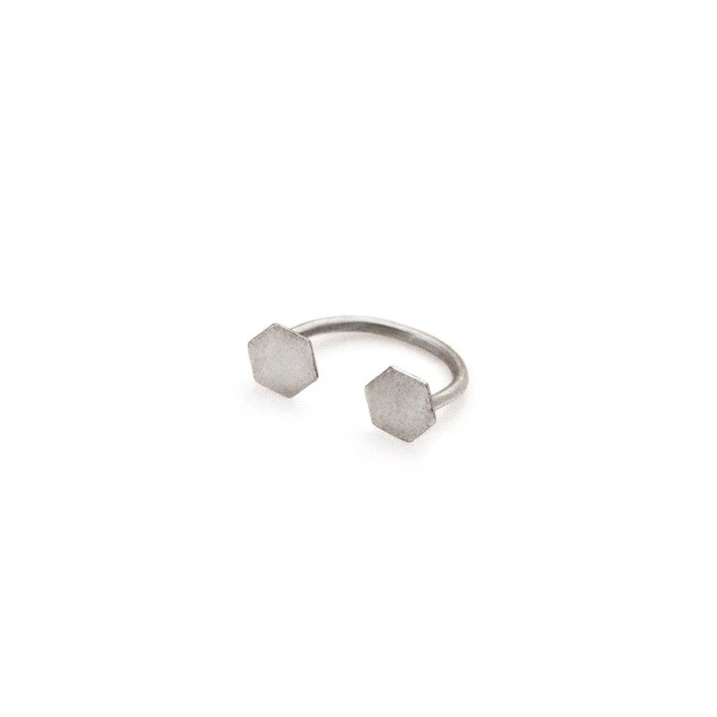 Open Hexagon Ring- Silver