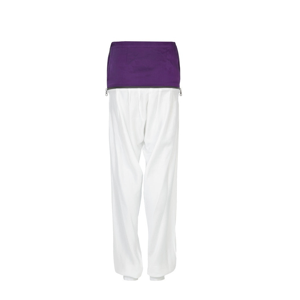 Harrem bicolor bamboo pants with decorative zip