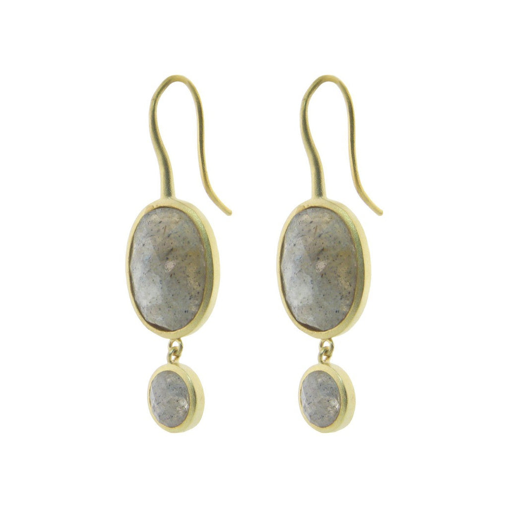 Labradorite Stone Drop Earrings in Gold Plated Silver