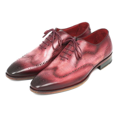 Paul Parkman Wintip Oxfords Burgundy Handpainted Calfskin (ID#741-BUR)