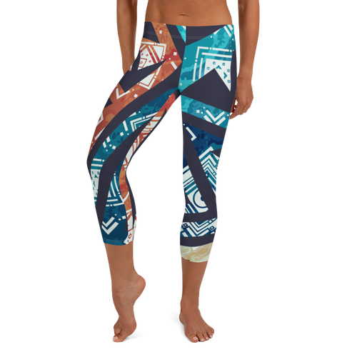 Women's Blue Speaks Capri Leggings