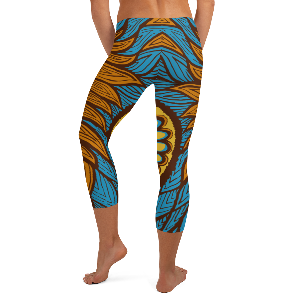 Blue Orange Flames Capri Leggings