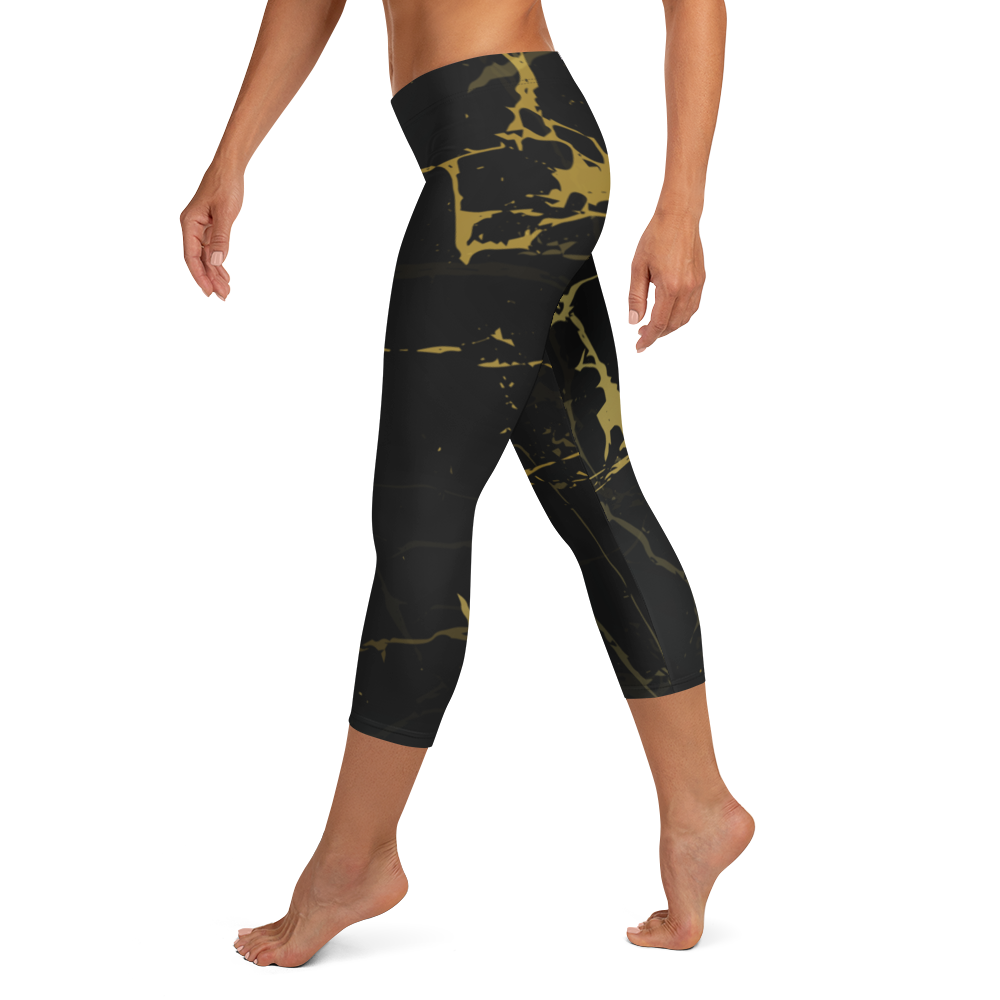 Gold Paint Capri Leggings