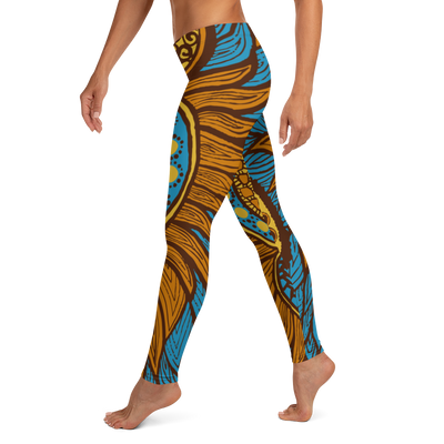 Blue Orange Flames Leggings
