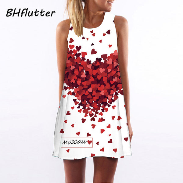 Vestidos  New Style Summer Dress Sleeveless Floral Print Casual Women Dress