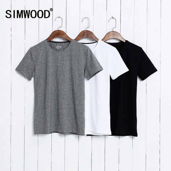 SIMWOOD  Summer Brand Men's Short-sleeved Cotton skinny T-shirt