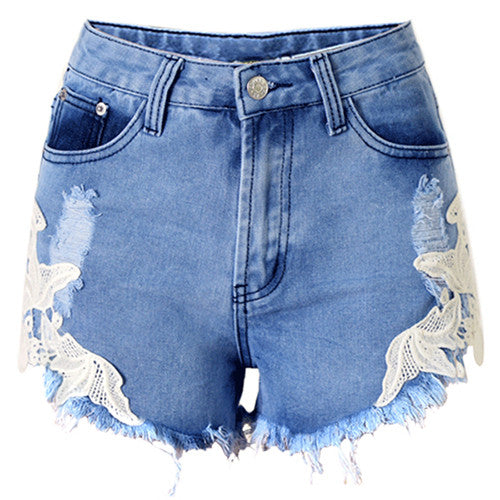 Woman's New sexy lace patchwork high waisted tassels ripped shorts jeans trousers