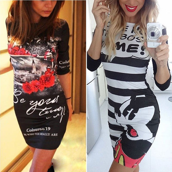 celebrity Summer  fashion women Character O-Neck Print Dress