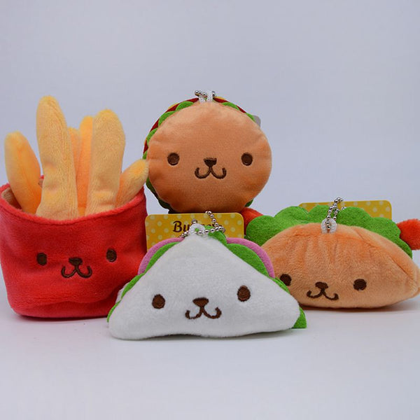Cute Hamburger French Fries Stuffed Plush Toy with Keychain - CuteFTW