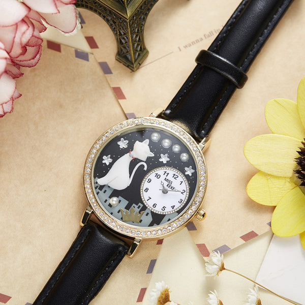 Moon Lit City Kitty Wristwatch - CuteFTW