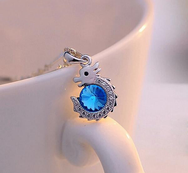 Blue Water Dragon Sterling Silver Necklace - CuteFTW