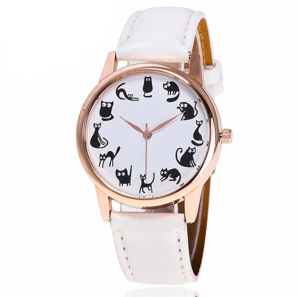 Cat O' Clock Leather Quartz Wristwatch - CuteFTW