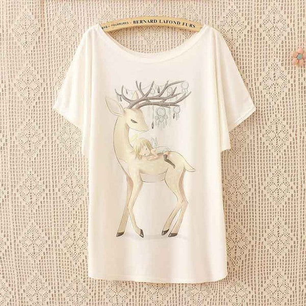Deer with Girl T Shirt - CuteFTW