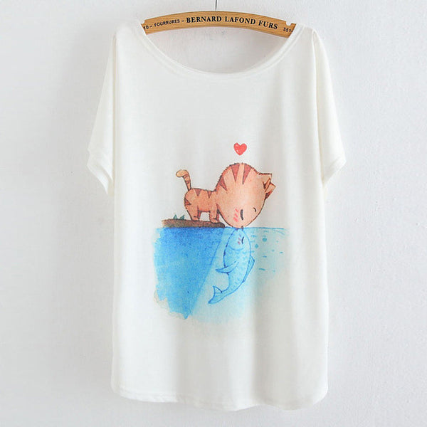 Friendly Cat and Fish T Shirt - CuteFTW