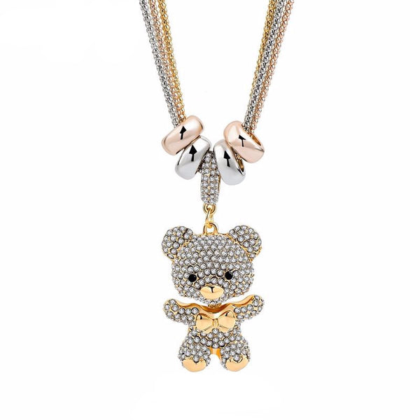 Crystal Bear Pendant Necklace