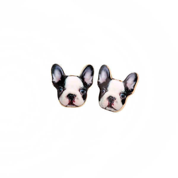 Pied French Bulldog Earrings - CuteFTW