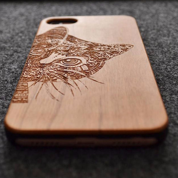 Carved Wood Kitten Phone Case - CuteFTW