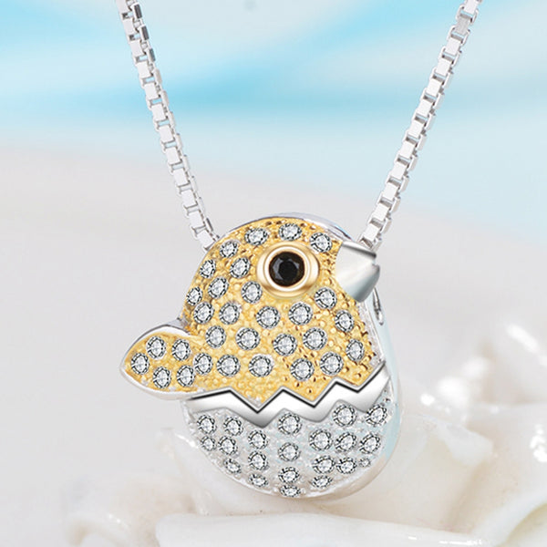 Sterling Silver Chick-in-Egg Pendant Necklace