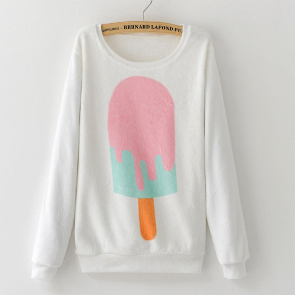 SO! Ice Cream Long Sleeve Pullover - CuteFTW