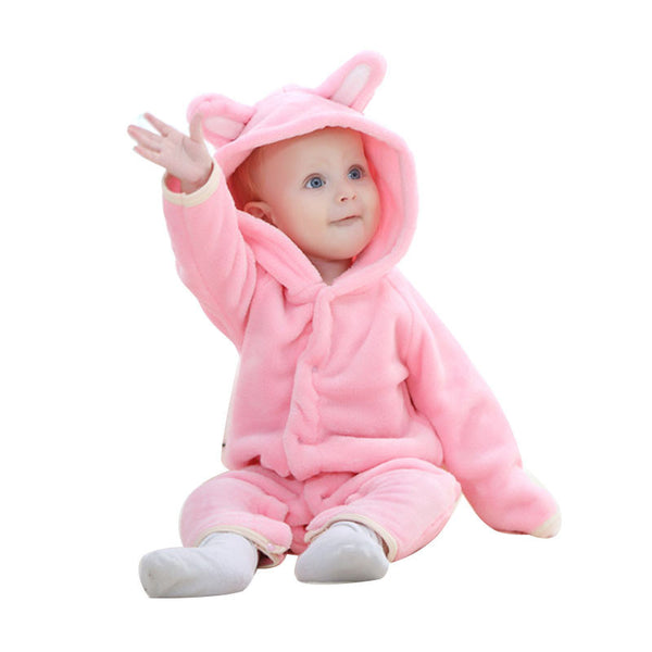 Lil Creature Hooded Baby Jumpsuit Pink