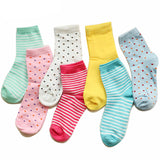 Random Colorful Striped and Dotted Socks (6 pair) - CuteFTW