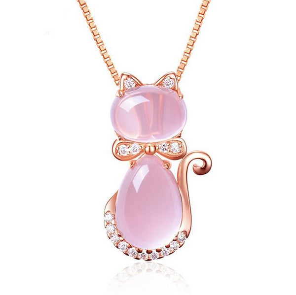 Pink Opal Cat Pendant Necklace - CuteFTW