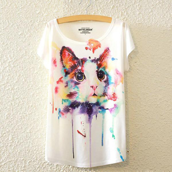 Full of Life Print O-Neck T Shirt - CuteFTW