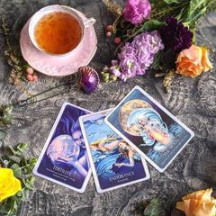 magic tarot oracle cards mermaid flowers tea shell magic witch