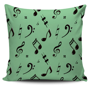 Green Music Note Pillow Cover