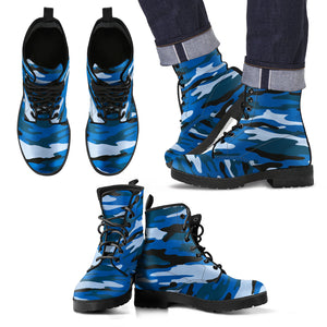 Blue Camouflage Men's Leather Boots