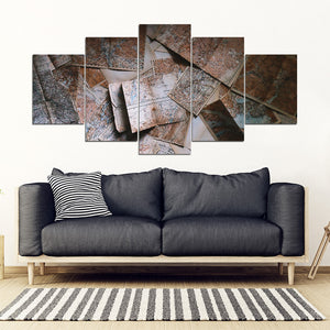 Maps Statue 5 Piece Framed Canvas