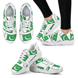 PAKISTAN'S PRIDE! PAKISTAN'S FLAGSHOE - Women's Athletic Sneaker (white bg - white lace)