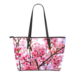 Cherry Blossums Small Leather Tote
