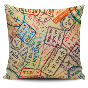 Travel Stamps  Pillow Cover