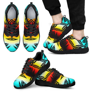 Fire and Turquoise with Black New Sopo Men's Athletic Sneakers