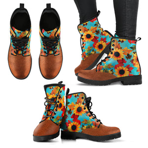Sunflower Pattern Handcrafted Boots