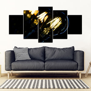 Lightbulb 5 Piece Framed Canvas