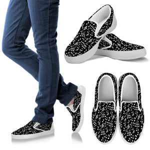 Black Music Note Men's Slip Ons